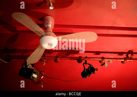 A ceiling fan in the performance space Red Hedgehog in Highgate, North London, UK. - Stock Photo