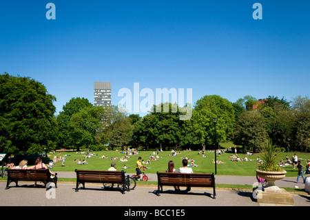 Crowds of people enjoying the hot weather in Weston Park,Sheffield ,South Yorkshire ,England UK - Stock Photo