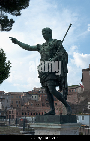 Bronze statue of Roman emperor Octavian Augustus - Stock Photo