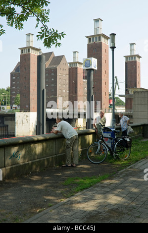 Harbour wall at the Schwanentor Bridge, Duisburg, Germany. - Stock Photo