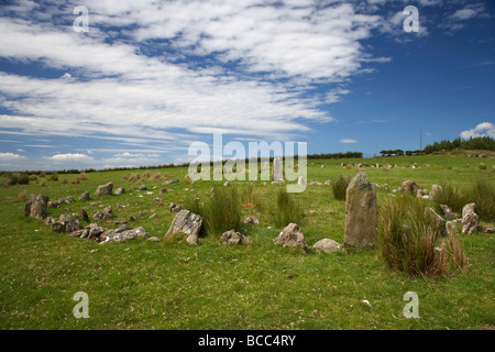 Aughlish stone circles bronze age complex county derry londonderry northern ireland uk - Stock Photo