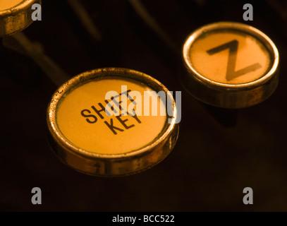 Closeup of Shift Key on old manual typewriter - Stock Photo