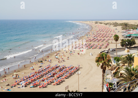 Playa del Ingles beach and Maspalomas dunes on Gran Canaria in The Canary Islands - Stock Photo