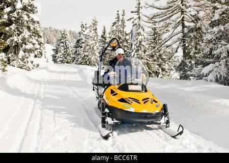 Snowmobile Torgnon Aosta Italy - Stock Photo