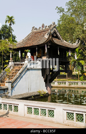 One Pillar Pagoda in Hanoi was originally contructed in 1049 by Emperor Ly Thai Tong for the Goddess of Mercy - Stock Photo
