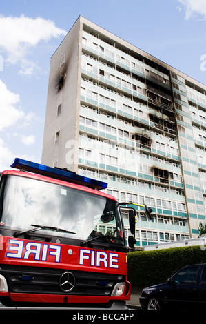 Aftermath of the fire at Lakanal House, Sceaux Gardens, Camberwell which killed 6 people. - Stock Photo
