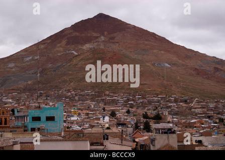 Potosi City view with Cerro Rico on the background, Bolivia. Potosi is declared UNESCO World Heritage Site. - Stock Photo