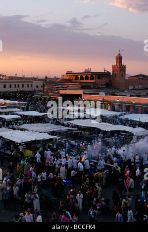 One of the world's busiest squares, Djemaa el Fna in Marrakech Morocco - Stock Photo