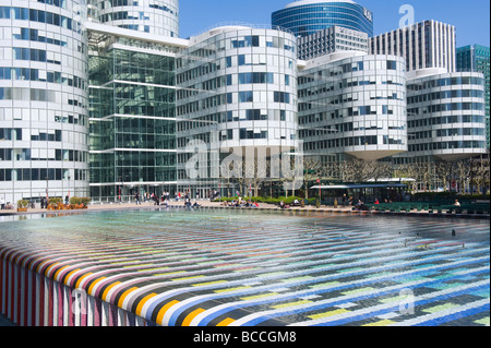 Coeur Defense Building Colored Pool in the foreground La Defense Paris France - Stock Photo