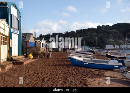 The back beach in Teignmouth,South Devon,anchor, anchored, autumn, bay, boats, coast, devon, dock, dockside, ebb, - Stock Photo