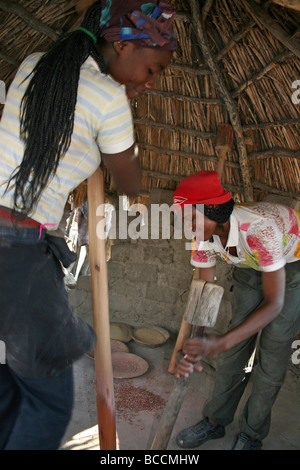 Two Young Women Of The Ovambo Tribe Pounding Maize, Omaheke Village, Namibia, Africa - Stock Photo