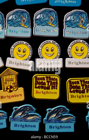 Fridge magnet souvenirs on sale at a souvenir shop in Brighton - Stock Photo