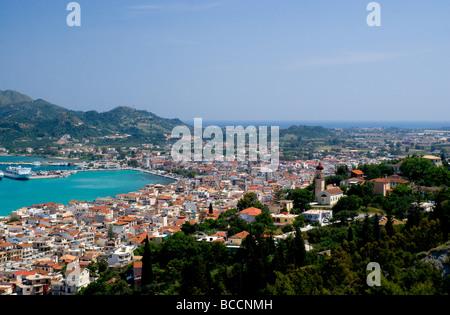view of zakynthos town and harbour from bohali, zakynthos/zante, greece. - Stock Photo