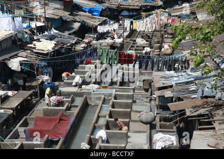 Dhobi Ghat open air laundry, Mumbai, India. - Stock Photo