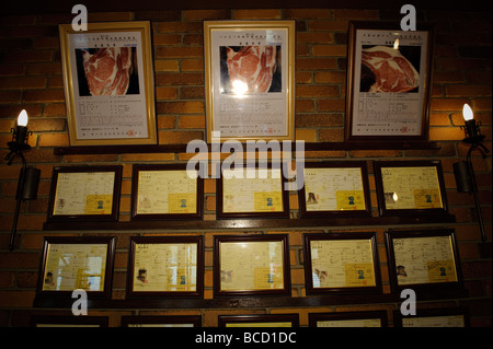 Kobe beef certificates at Kobe Beef Bifteck Kawamura restaurant, Kobe city Hyogo Prefecture Japan, June 25 2009. - Stock Photo