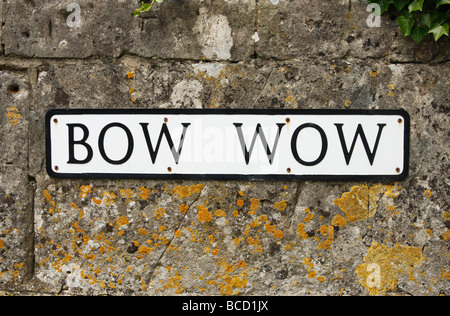 'Bow Wow', funny [road sign], 'South Cerney', Cotswolds, England, UK - Stock Photo
