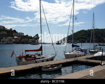 Looking through two yacht masts towards the estuary of the river Dart,Dartmouth,Devon. - Stock Photo