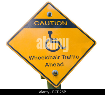 Warning Sign Wheelchair Traffic On White Background - Stock Photo