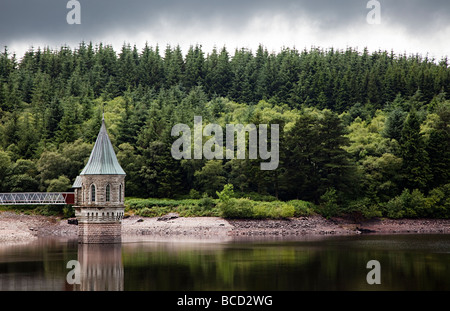 Valve tower and woodland surrounding Pontsticill reservoir Brecon Beacons national park Wales UK Stock Photo