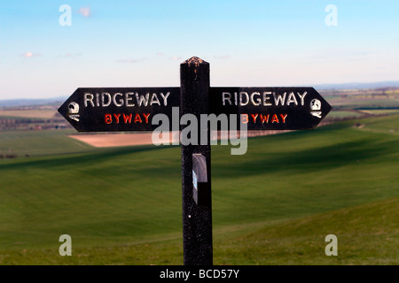 Signpost on The Ridgeway, Wiltshire, England, UK - Stock Photo
