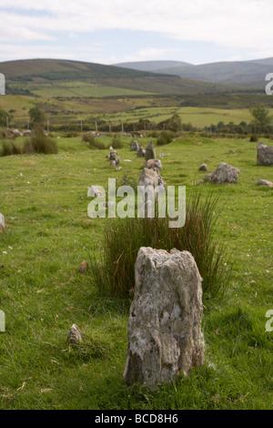 stone alignment at Aughlish stone circles county derry londonderry northern ireland uk - Stock Photo
