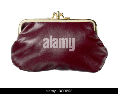 burgundy leather purse closed elevated view - Stock Photo
