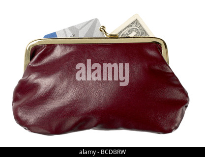 burgundy leather purse  money  credit card dollar elevated view - Stock Photo