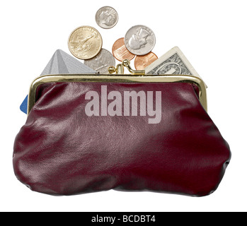 burgundy leather strapless purse money keys credit card elevated view - Stock Photo