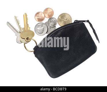 black leather purse elevated view - Stock Photo