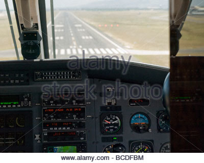 View from the pilot's seat of a small airplane. - Stock Photo