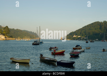 Looking towards Dartmouth Castle and the mouth of the River Dart from Bayards Cove on a summer evening - Stock Photo