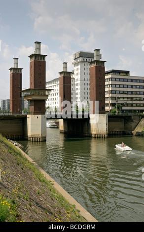 Schwanentor bridge in Duisburg Harbour Germany. - Stock Photo
