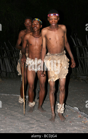 Three Hei / Omn Bushmen Dancing Taken at Treesleeper Camp, Namibia, Africa - Stock Photo