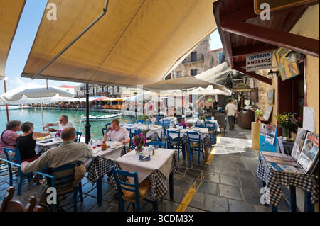 Seafront Restaurants in the Old Venetian Harbour, Rethymnon, North West Coast, Crete, Greece - Stock Photo