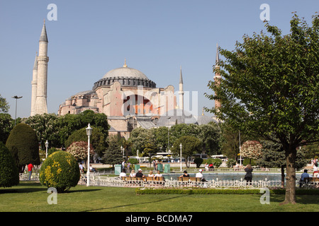 Istanbul Turkey the Haghia Sophia Church of Holy Wisdom museum in the Sultanahmet area of the city - Stock Photo
