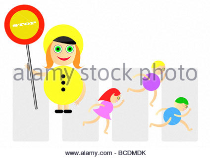 Lollypop lady helping children cross the road - Stock Photo