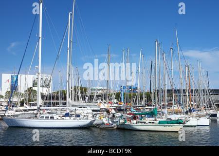Yachts and sailing boats Port Vell Barcelona Catalunya Spain - Stock Photo
