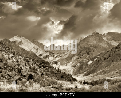 McGee Creek canyon with fall colored aspens Inyo National forest California - Stock Photo