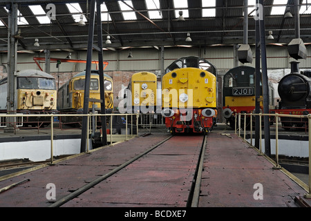 Preserved Railway Engines Inside Barrow Hill Roundhouse - Stock Photo