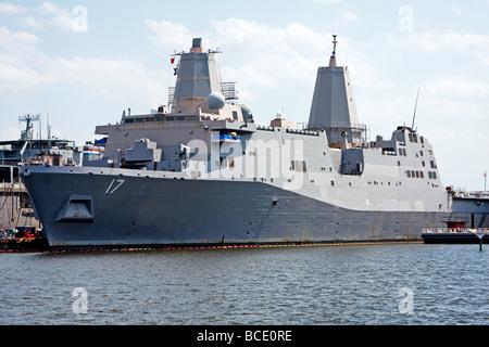 The USS San Antonio LPD 17 advanced marine navy stealth battle ship anchored in Norfolk Virginia - Stock Photo