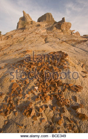 Rock formations and buttes in Theodore Roosevelt National Park. - Stock Photo