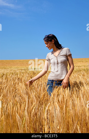 A woman in a field of golden barley - Stock Photo