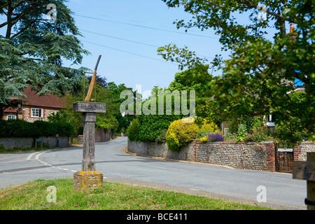 Slindon Village Sign, West Sussex, UK - Stock Photo