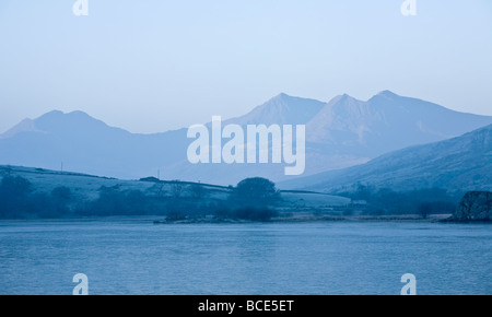 View of Snowdon Horseshoe Massif from Llyn Mymbyr Snowdonia National Park North Wales UK - Stock Photo