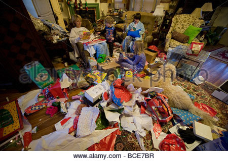 Christmas morning, after all the presents have been opened. - Stock Photo