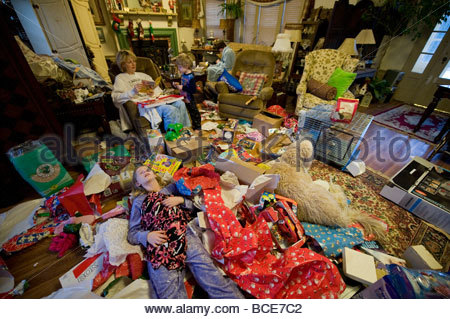 Christmas morning, after all the presents had been opened. - Stock Photo