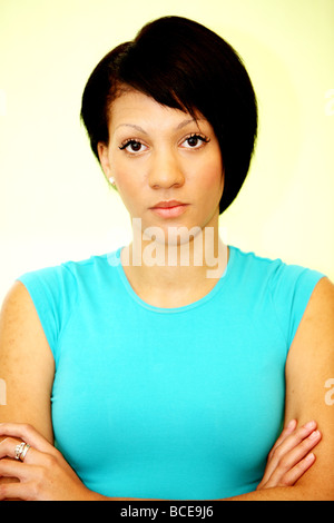 Angry Young Woman Posing Model Released - Stock Photo