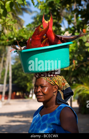 Mozambique, Inhaca Island.  A local African lady carries her catch of fish on her head, in Inhaca village on Inhaca - Stock Photo