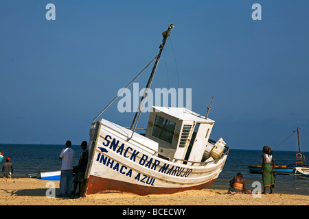 Mozambique, Inhaca Island. The Snack Bar Marujo lies beached on the west side of Inhaca Island. - Stock Photo