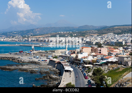 View over the town from the walls of the 16th Century Venetian Fortezza (Fortress), Rethymnon, Crete, Greece - Stock Photo